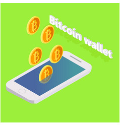 Bitcoin flies out of the phone vector