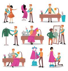 dressmaker set male designer tailoring measuring vector image