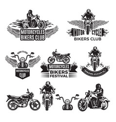 emblems or logo designs for club of bikers vector image vector image