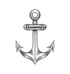 Hand drawn elegant ship sea anchor black sketch vector image