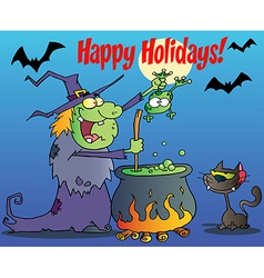 Happy holidays greeting over a witch vector