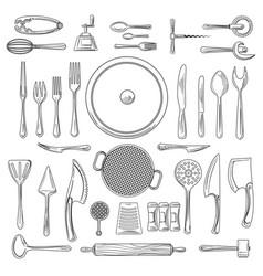 kitchen utensils or kitchenware sketch vector image vector image