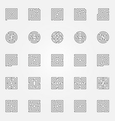 maze outline icons set vector image