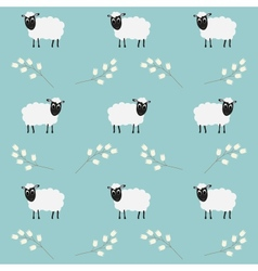 Seamless pattern with flowers and sheep vector image
