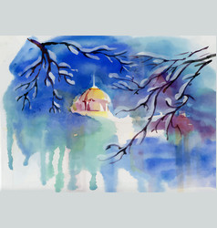 watercolor winter landscape with village church vector image