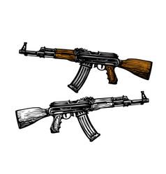 Weaponry armament symbol automatic machine ak 47 vector