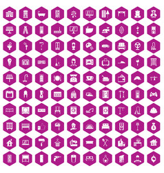 100 comfortable house icons hexagon violet vector image