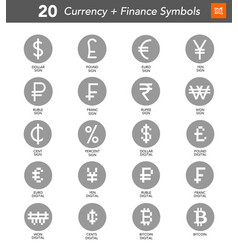 20 currency and finance symbols vector