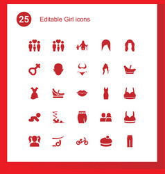 25 girl icons vector