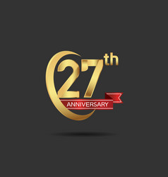 27 years anniversary logo style with swoosh ring vector