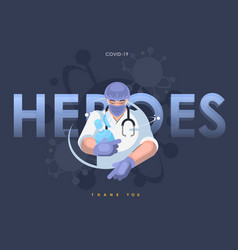 A doctor in a protective mask heroic work a vector