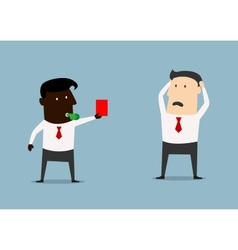 African american boss showing red card to manager vector image