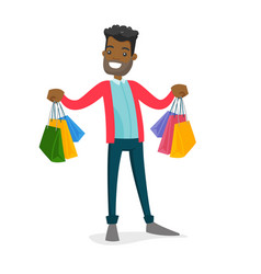 African-american consumer holding shopping bags vector