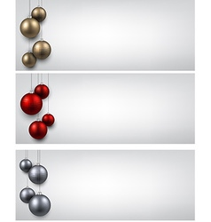 Banners with colorful christmas balls vector image