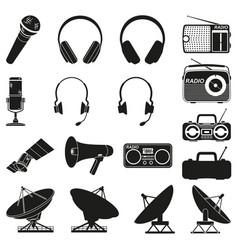 Black white 17 telecommunication elements vector