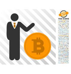 Businessman show bitcoin coin flat icon with bonus vector