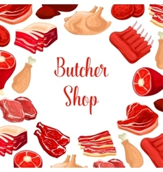 Butcher shop butchery meat products poster vector image