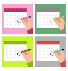 Calendar on the wall and hand marking one day vector