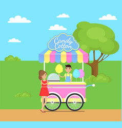 Candy cotton shop poster vector