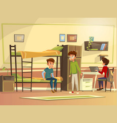 cartoon students group in dormitory room vector image