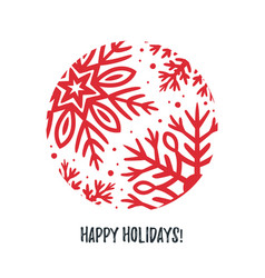 christmas card with hand drawn snowflake vector image