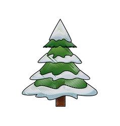 Christmas tree pine ornament cartoon icon vector