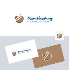 coconut logotype with business card template vector image