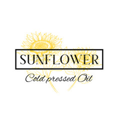 Cold pressed sunflower oil logo template vector
