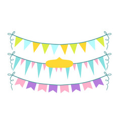Colorful garlands set party flags on rope vector