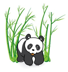 cute panda bear in bamboo forest 04 vector image