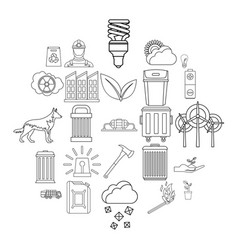 destructive nature icons set outline style vector image