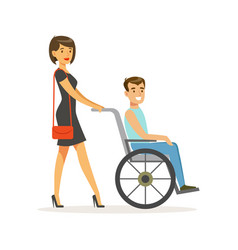 Disabled young man in wheelchair smiling female vector