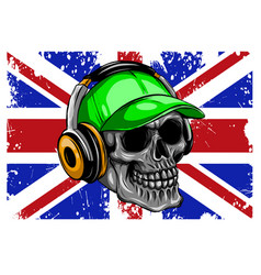 england flag with skull design vector image