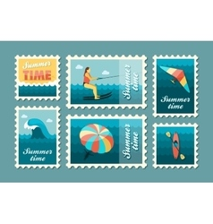 Extreme Water Sport stamp set Summer Vacation vector image