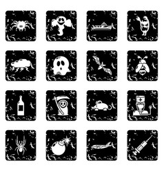 Fears phobias icons set grunge vector