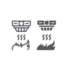 Fire detector line and glyph icon alarm and vector