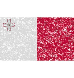 Flag of Malta with old texture vector image