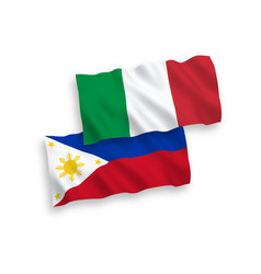 Flags italy and philippines on a white vector