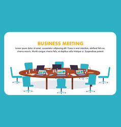 Flat round table for business meeting vector