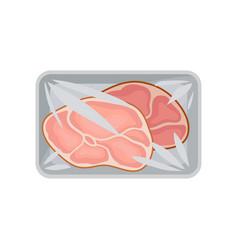 Fresh pork meat packaging food plastic tray vector