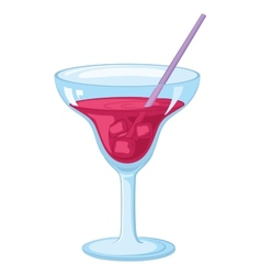 Glass with ice and red drink vector