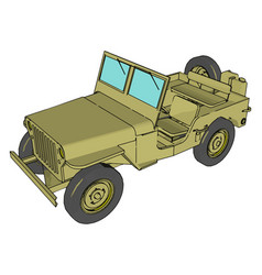 Green military jeep on white background vector