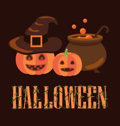 halloween poster with pumpkins vector image
