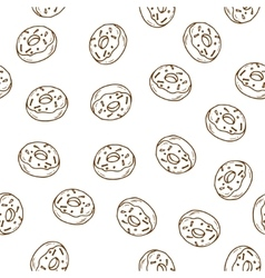 Hand drawn donut seamless pattern vector