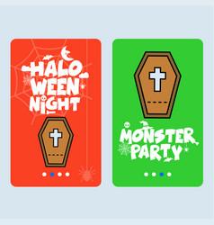 happy halloween invitation design with coffins vector image