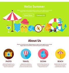 Hello Summer Flat Web Design Template vector image
