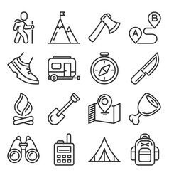 hiking camping and recreation icons set vector image