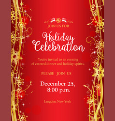 Holiday party invitation with with gold decorative vector