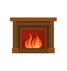 Home fireplaces with fire on a vector