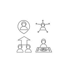 icon set person in location people arrow food vector image